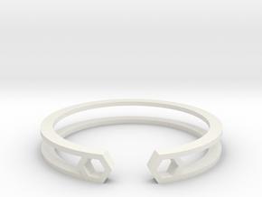 HH Bracelet Sharp, Medium Size, 65mm. Minimalistic in White Natural Versatile Plastic: Medium