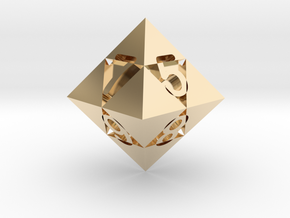 Optical Art D8 Dice in 14k Gold Plated Brass