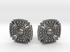 Designer Shield Cufflinks in Polished Nickel Steel