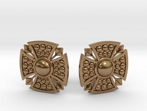 Designer Shield Cufflinks in Natural Brass