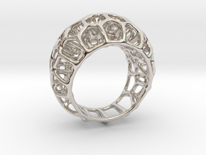 Voronoi Cell Ring II  (Size 54) in Rhodium Plated Brass