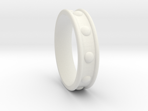 Studded Collar Ring in White Natural Versatile Plastic