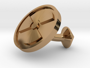SINGLE Cufflink for NUKE - Nuclear Hazard in Polished Brass