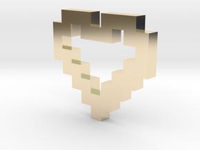 Pixel Heart Pendant in 14k Gold Plated Brass