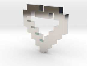 Pixel Heart Pendant in Rhodium Plated Brass