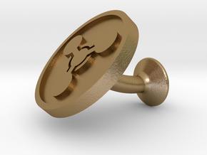 SINGLE Cufflink for CHEM - Chemical Hazard in Polished Gold Steel