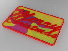 Gift Card Holder Merry Christmas in Red Processed Versatile Plastic