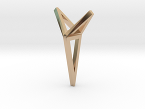 YOUNIVERSAL 3T Origami, Pendant. Sharp Chic in 14k Rose Gold Plated Brass