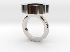 Flower Power Statement Ring in Rhodium Plated Brass