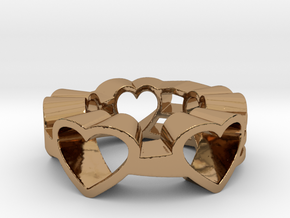Love Lines Ring Size 7.25 in Polished Brass (Interlocking Parts)