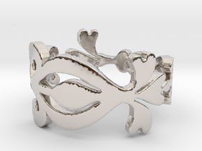 Scroll and Swirl Ring in Rhodium Plated Brass: 7 / 54