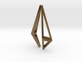 HIDDEN HEART Origami Structure, Pendant  in Natural Bronze