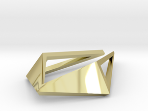 HIDDEN HEART Origami OS, Pendant. Sharp Chic in 18k Gold Plated Brass