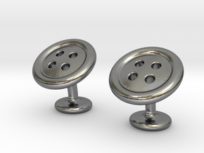 Button cufflinks in Polished Silver