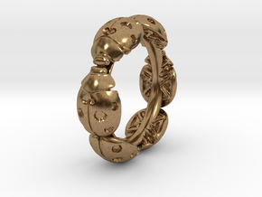 Hidden Heart Ladybug Leaves of Grass Eternity Ring in Natural Brass