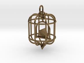 Platonic Birds - Tetrahedron in Natural Bronze (Interlocking Parts)