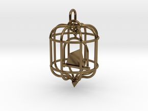 Platonic Birds - Tetrahedron in Interlocking Polished Bronze