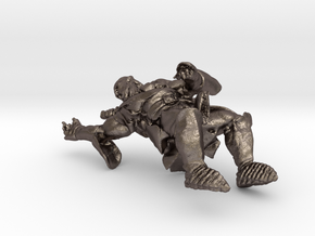 Mounted 1/43 Fantasy Orc Captain - for every Table in Polished Bronzed Silver Steel