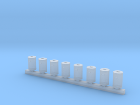 Trash Can Bulk Pack of 8 HO Scale  in Smooth Fine Detail Plastic
