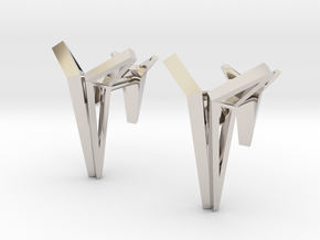 YOUNIVERSAL Origami Structure, Cufflinks in Rhodium Plated Brass