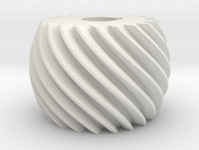 Convex helical gear in White Natural Versatile Plastic