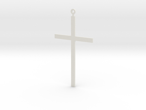Pendant - Cross in White Natural Versatile Plastic