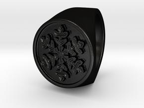 Snowflake - Signet Ring in Matte Black Steel: 6 / 51.5