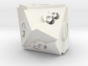 Optical Art D10 Dice in White Natural Versatile Plastic