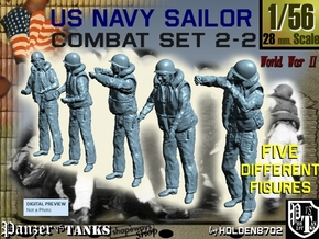 1-56 US Navy Sailors Combat SET 2-2 in Smooth Fine Detail Plastic