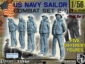 1-56 US Navy Sailors Combat SET 2-11 in Smooth Fine Detail Plastic