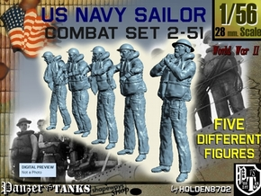 1-56 US Navy Sailors Combat SET 2-51 in Smooth Fine Detail Plastic