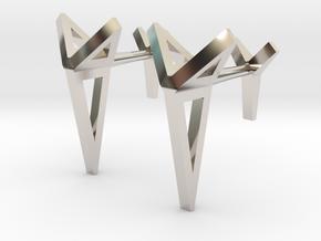 YOUNIVERSAL Origami 3T Cufflinks. Sharp Chic in Platinum
