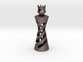 King in Polished Bronzed Silver Steel: Medium