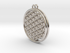 "Flower Of Life Earrings .8"" in Rhodium Plated Brass"
