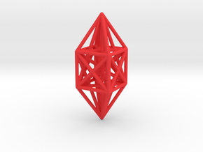 ^10 node complete graph ornament in Red Processed Versatile Plastic