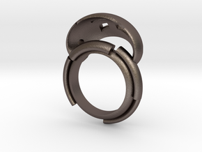 Organicring. in Polished Bronzed Silver Steel: 8.5 / 58