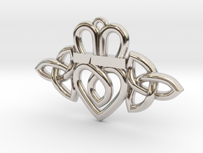 Claddagh Triquetra Pendant in Rhodium Plated Brass