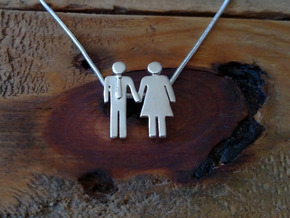 Man Loves Woman Pendant - Love is Love Collection in Polished Silver