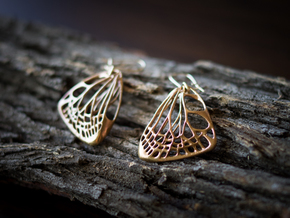 Butterfly Earrings (S)  in Raw Bronze
