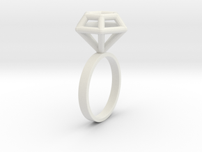 Wireframe Diamond Ring (size 6) in White Natural Versatile Plastic
