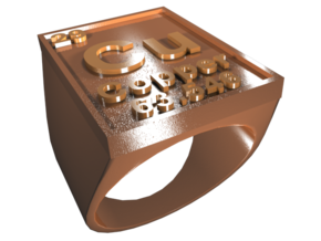 Copper Periodic Table Ring Size 8 Solid Ring Band in Polished Bronze