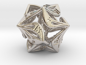 Curlicue 20-Sided Dice in Rhodium Plated Brass