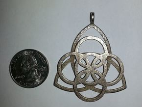 Celtic Necklace Pendant or Keychain in Polished Bronzed Silver Steel