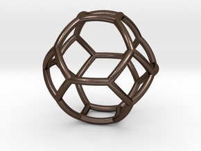 0410 Spherical Truncated Octahedron #002 in Polished Bronze Steel