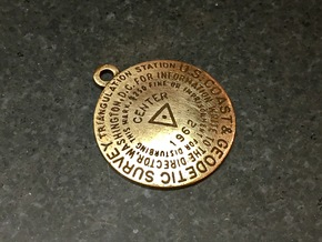 Center of the Nation Benchmar Keychain in Natural Bronze
