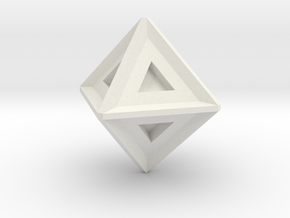 Octahedron in White Natural Versatile Plastic: Small