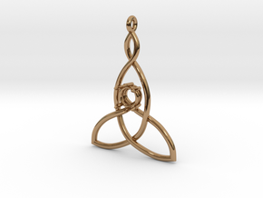 Mother And Child Knot with mount for gem in Polished Brass