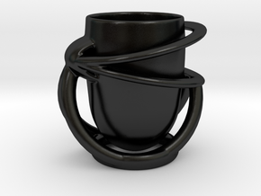 Suspended Coffee Cup1 in Matte Black Porcelain