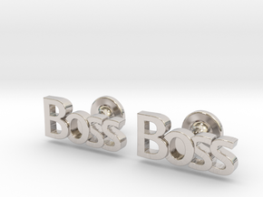 Boss Cufflinks in Rhodium Plated Brass