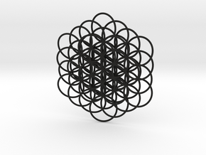 Knotted Flower Of Life Pendant in Black Natural Versatile Plastic